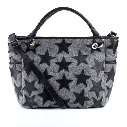 FEYNSINN Handtasche mit Langen Henkeln echt Filz & Leder Stars groß Henkeltasche Schultertasche Ledertasche Damen schwarz