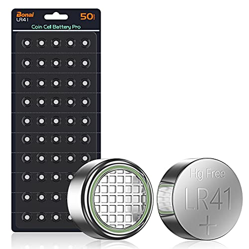 BONAI LR41 1.5V Knopfzellen AG3 SR41W 392 Knopfbatterien Ohne Quecksilber Alkaline Batterien-50 Stück
