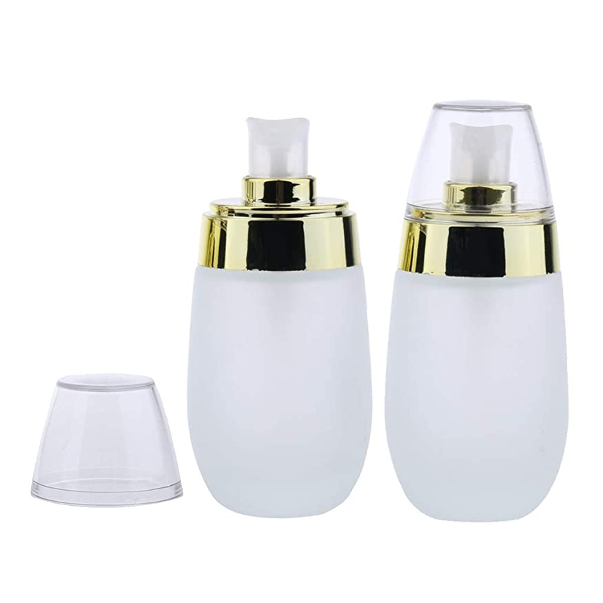 採用反乱雑多なPerfeclan 2個セット 泡ポンプボトル ローション エッセンス 詰め替え容器 2本 ガラス材料 携帯用 3色選ぶ - ゴールド