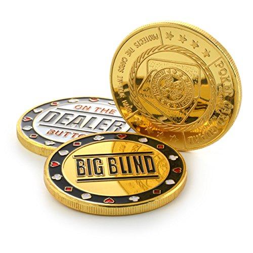 Ganzoo Poker-Button Set im Etui (Metall-Münzen), 1x Dealer Button, 1x small blind, 1x Big blind
