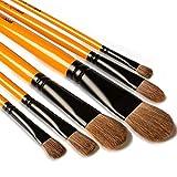 Pinceles para Pintura de artista, 6 piezas, mango largo, pinceles perfectos para acuarelas, acrílicos, pintura al óleo, gouache