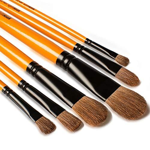 Rock Ninja Art PinselSet, Malen Katzenzungenpinsel Set ideal für Acryl, Öl, Gouache, kreative Körperfarbe und Malerei Aquarellfarben, 6 Stück, Langer Holzgriff, Filbert Brushes(Nylon Hair)
