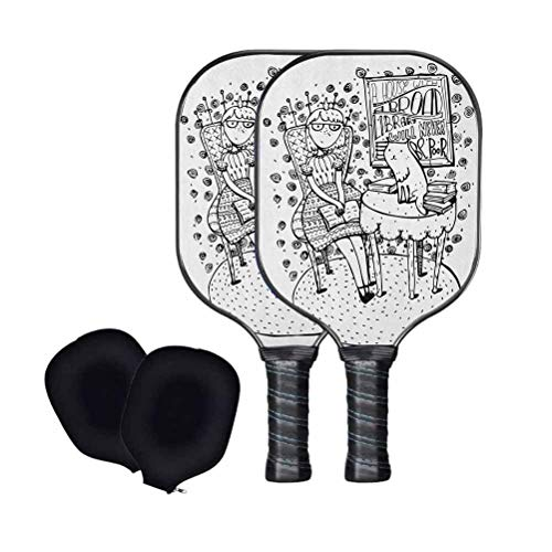 Book Pickleball Paddles Set of 2,Cartoon Style Hand Drawn Girl Sitting with a Book and Cat Glasses Crown Happy Cat Usapa Approved Graphite Pickleball Rackets with Covers,Pickleball Sets for Beginner