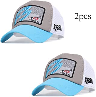 YOKST Pack Of 2 - Racing Car Half Mesh Baseball Cap Men's Washed Quick Drying Sports Cap Summer Breathable Sunscreen Sun Hat Ponytail Trucker Hat For Outdoor (Color : Light blue)