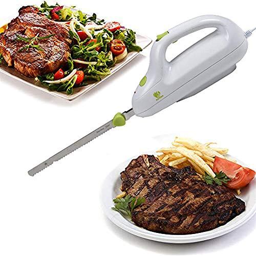 Dr.COLORFUL JYJYES Coltello Elettrico da Cucina Lama Doppia in Acciaio Inox Bordo Seghettato Coltello per Pane Carne Surgelati