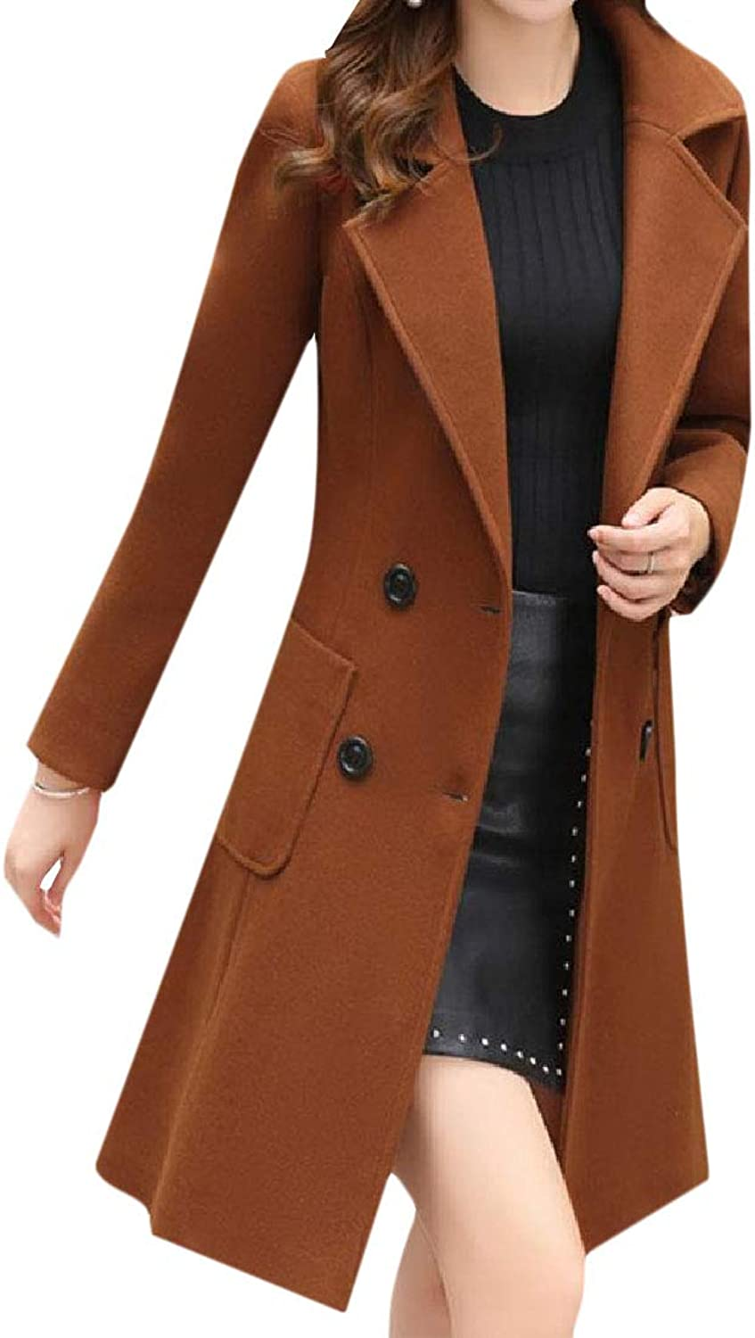 Cobama Womens Trendy Fall Winter Lapel Double Button Long Trench Coat