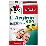 Doppelherz L-Arginin 500 – Nahrungsergänzungsmittel mit der hochwertigen Aminosäure L-Arginin für den vitalen & aktiven Mann – 1 x 30 Kapseln -