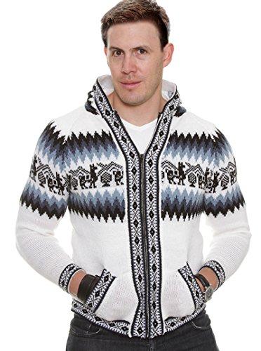 Gamboa - Alpaca Hooded Cardigan für Herren - Weiß und Blau Anden-Design