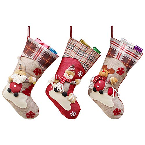 Calcetín de Navidad, tamaño Grande, 3 Piezas, 45,7 cm, diseño de Papá Noel, Reno, Chimenea Calcetines, Felpa 3D, para Decoraciones de Navidad, Suministros de Fiesta