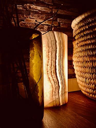 Maison Zoe Alabaster Steinlampe - Tischlampe Cylinder massiv perfekt für Wohnzimmer - handgeschnitzte Nachttischlampe Schlafzimmer - Kinderzimmer ~ 2,8Kilos