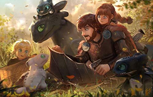 puzzle 1000 piezas adultos Cómo entrenar a tu dragón Madera Regalos educativos de bricolaje para niños póster
