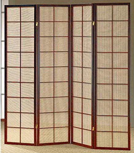 Legacy Decor Fabric in Lay Folding Room Screen Divider in Cherry Finish Wood 4 Panels