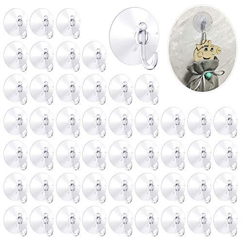 Cada paquete de 50 ganchos con ventosas de pared transparentes de aspiración de plástico para toallas, perchas de entrada, utensilios de cocina de baño (5 cm)