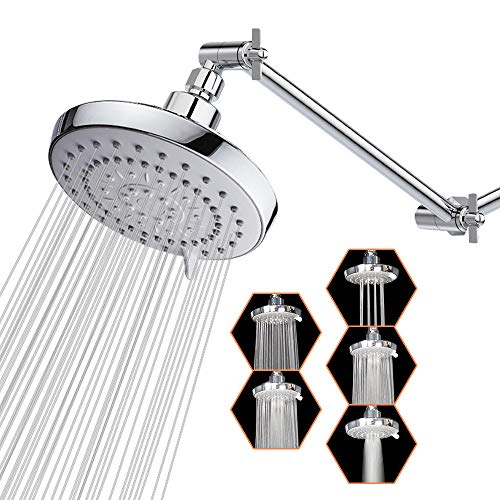 High Pressure Shower Head with 11 IN Adjustable Arm, 5-Settings Rain Shower Head, HarJue Luxury Rainfall Showerhead with Shower Arm-Make The Water Flow Down Vertically for A Better Bathing Experience
