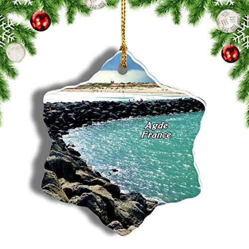 Weekino Frankreich FKK Strand Cap-d'Agde Weihnachten Anhänger Baum Weihnachtsdeko Baumschmuck zum Hängen Reiseandenken