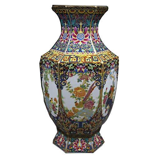 TELMU Ornament Vase Schönheit Qing Qianlong Emaille Bunte Blumen Vögel Sechseckig X
