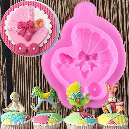 HUIZHANG Baby Car Carriage Silicone Mold Bow Tie Fondant Mold Cake Decorating Tools Chocolate Gumpaste Mold