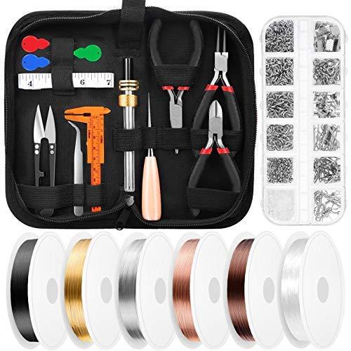 Kit de suministros de fabricación de joyas de embalaje de alambre con alambre de joyería, herramientas de joyería, alicates de joyería y accesorios de joyería..