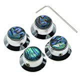 KAISH 4X Abalone Top Chrome LP Top Hat Knobs with Set Screw Metal Bell Knobs for Guitar Bass with 6mm Shaft Pots