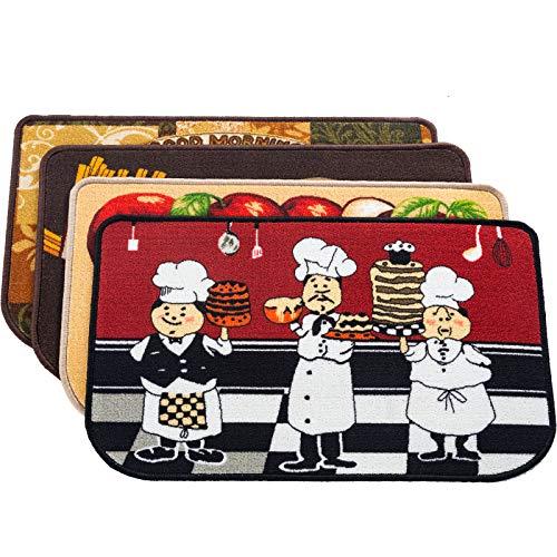 Kapler Kitchen Mat Set, Non-Slip Standing Kitchen Rug Mat, Water & Oil Absorbent Kitchen Carpet Set of 4