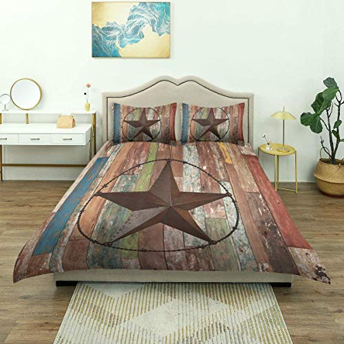 Yaoni Duvet Cover,Rustic Wood Door with Southwestern Texas Star Garage Barn Farmhouse, Bedding Set Comfy Lightweight Microfiber
