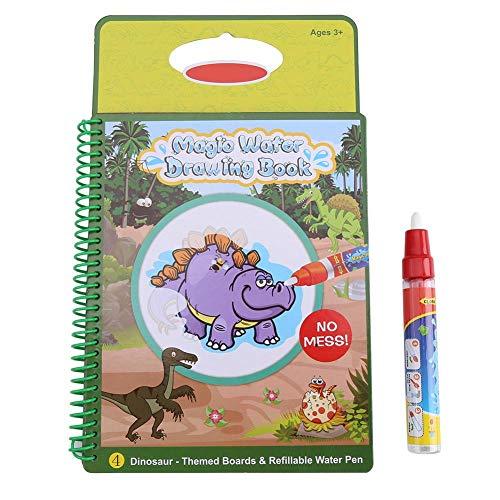 Enfants coloriage à l'eau et Livre de Peinture, bébé Enfants Dessin à l'eau Livre Peinture Tableau avec Stylo Jouets d'apprentissage réutilisables, Meilleur Cadeau(Motif de Dinosaure)
