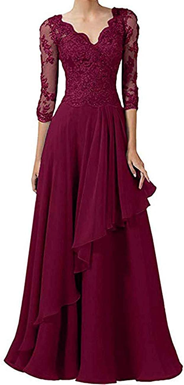tutu.vivi Long Chiffon Mother of The Bride Dress V Neck 3/4 Sleeves Mother Dress with Lace Appliques