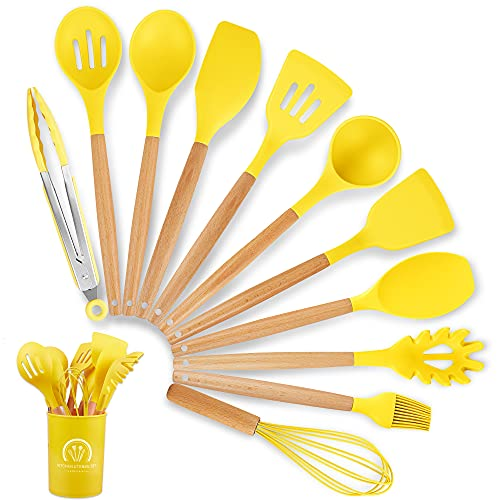 Silicone Cooking Utensil Set, 12Pcs Kitchen Utensils Heat Resistant BPA Free Cooking Tools Spatulas Turner Tongs Spoon Whisk with Wooden Handle, Kitchen Gadgets Set for Nonstick Cookware (Yellow)