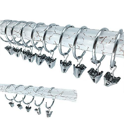 20 Stück Vorhang Ringe LMYTech Gardinenringe/Vorhang Clips Ringe/Vorhangring mit Klemme/Curtain Rings/Gardinen Klammer/38 mm Innen Durchmesser-Silver