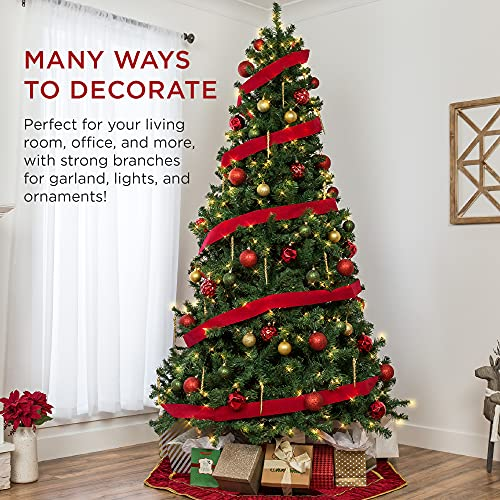 Best Choice Products 7.5ft Pre-Lit Spruce Hinged Artificial Christmas Tree w/ 550 Incandescent Lights, Foldable Stand