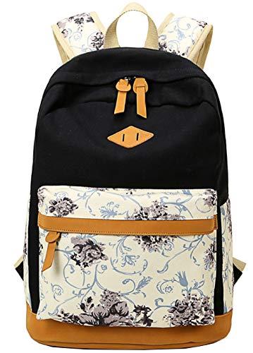 Schulrucksäcke Rucksack Damen Herren Canvas Vintage Schule Rucksäcke für Teens Jungen Studenten Blumen