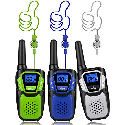 Walkie Talkies 3 Pack, Easy to Use Long Range Walky Talky Handheld Two Way Radio with NOAA for Hiking Camping (Without Charger and Batteries)