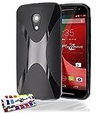 Muzzano F2072661 - Funda para Motorola Moto G segunda generación + 3 protecciones de pantalla, color negro