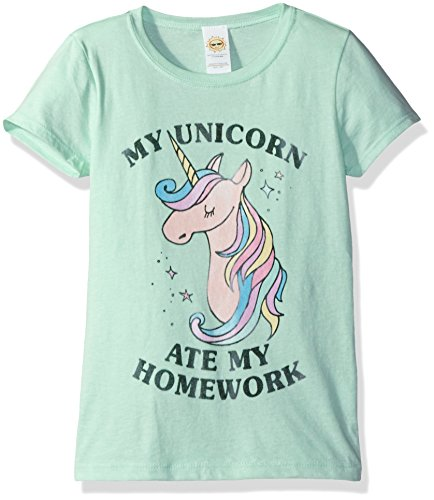 Lost Gods Girls' Big Unicorn Ate My Homework Graphic T-Shirt, Mint, L