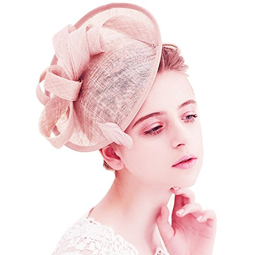 KAXIDY KAXIDY Damen Hut Hochzeit Fascinator Haarspangen Gaze Blume Braut Cocktail Hut Formale Partei Kirche (Rosa)