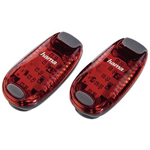Hama LED-Sicherheitslicht 2er Set (Dauerlicht inkl. Batterie, Blinklicht ideal für Jogger, Schulkinder, Radfahrer) rot