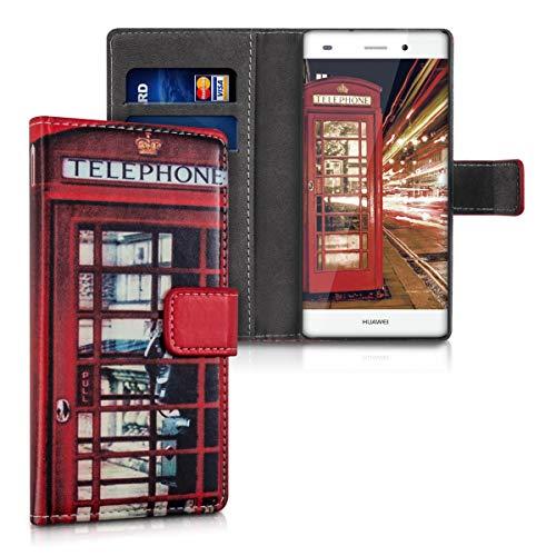 kwmobile Hülle kompatibel mit Huawei P8 Lite (2015) - Kunstleder Wallet Case mit Kartenfächern Stand London Telefon Rot Schwarz Weiß
