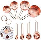 Ytesky Juego de 9 tazas medidoras de acero inoxidable y cucharas de color oro rosado, elegante vajilla de cobre pulido para medir diferentes cantidades de ingredientes, juego para cocina
