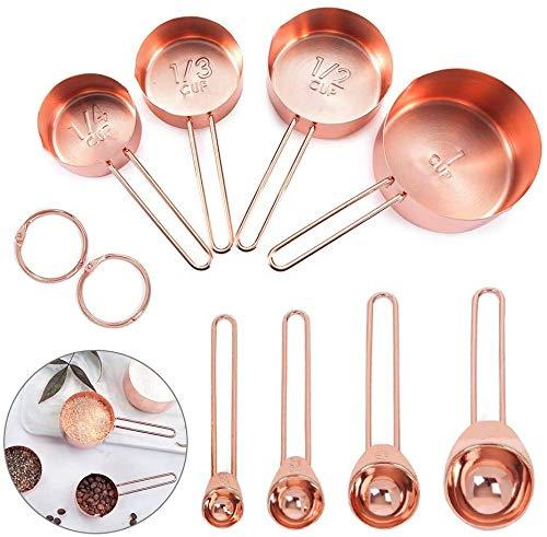 Ytesky Juego de 9 tazas medidoras de acero inoxidable y cucharas de...