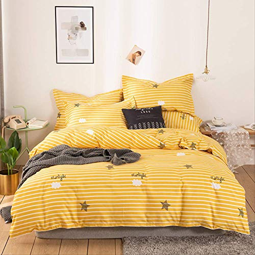 MEIQIQ 3/4 Pieces Of Cotton Bedding Set,simple Home Decoration, Quilt Cover, Bed Sheet,Single pillowcase,1.2m bed (quilt cover 150x200cm)