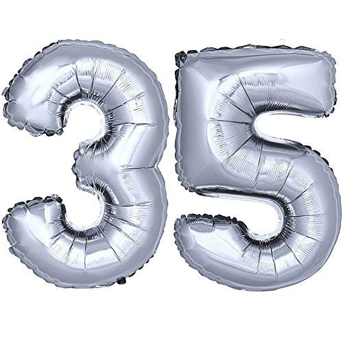 DekoRex ® Folienballon Zahlenballon Luftballon Geburtstag Deko 40cm Silber Zahl: 35