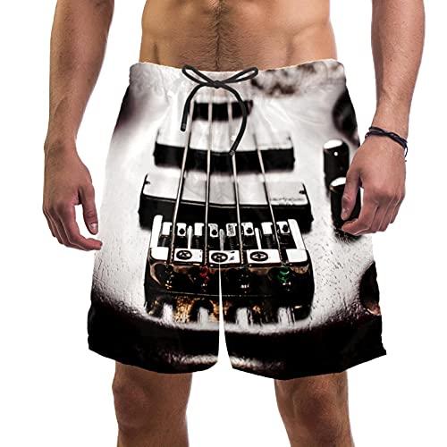 XiangHeFu Herren Sommer Strand Shorts mit Taschen elastische Taille Kordelzug schnell trocknende Kurze Hose,E-Gitarre von Redwood Bass mit grauem Teppich