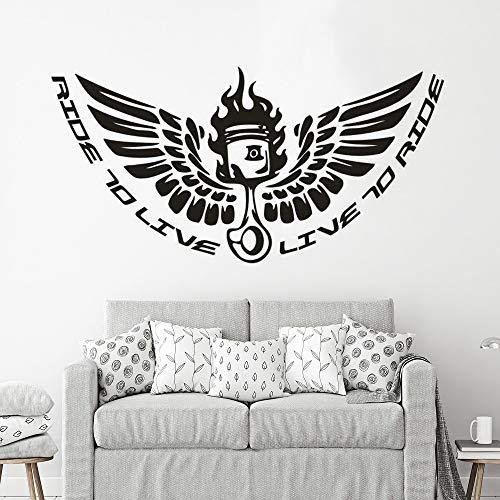 Kreative Motorrad Wandaufkleber Reiten Wandmalerei Dekoration Motorsport Motorrad Wand Vinyl Aufkleber Anpassbare Farbe 84x42cm