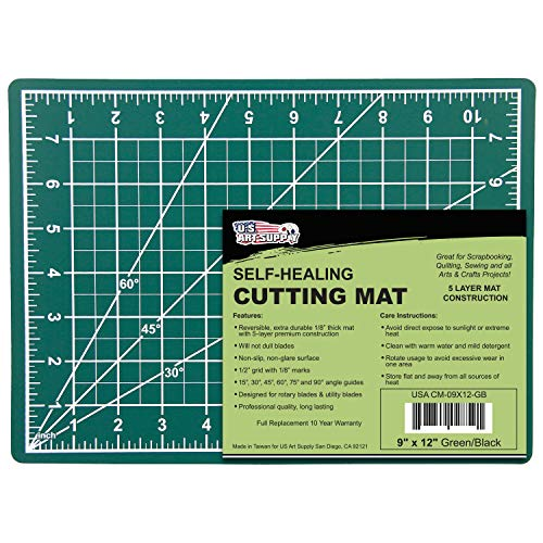 U.S. Art Supply 9 x 12 Green/Black Professional Self Healing 5-Ply Double Sided Durable Non-Slip PVC Cutting Mat Great for Scrapbooking, Quilting, Sewing and All Arts & Crafts Projects