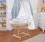 WALDIN Landau/berceau pour bébé complet,24 modèles disponibles,couleur du tissu blanc/points gris, Cadre/Roues non traitée