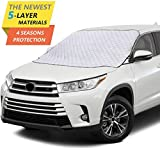 Windshield Snow Cover,Car Windshield Snow Cover with 5 Layers Protection,Windshield Cover for Ice and Snow Fits for Cars,SUV,Van,Windshield Snow Cover Magnetic Defense Snow, Ice, UV and Frost (silver)