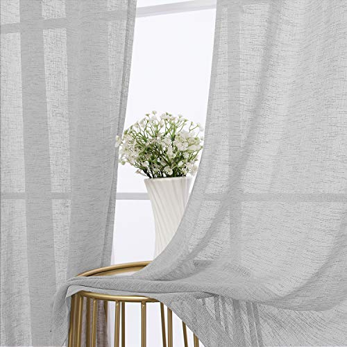 BONZER Burlap Linen Sheer Curtains