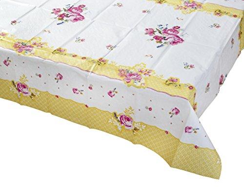Stoły do rozmowy naprawdę skrupulatne przyjęcie herbaciane kwiatowy obrus na stół prostokątny, papier, różowy i żółty, 180 x 120 cm, 70 cali x 47 cali