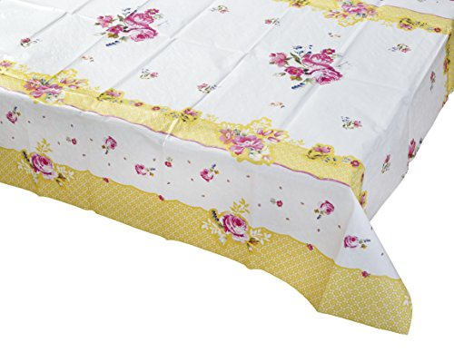 Talking Tables Truly Scrumptious Tea Party Floral Table Cover Rectangular, Paper, Pink and Yellow, 180 x 120cm, 70' x 47'