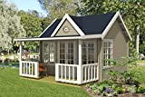 Alpholz Gartenhaus Clockhouse-Oxford 44 aus Massiv-Holz | Gerätehaus mit 44 mm Wandstärke | Garten Holzhaus inklusive Montagematerial | Geräteschuppen Größe: 420 x 320 cm + 150 cm | Satteldach
